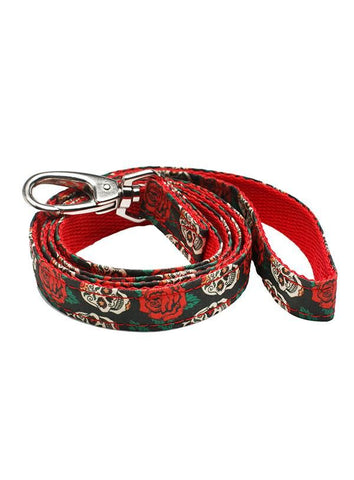 Skulls & Roses Lead Leash - Black / Red