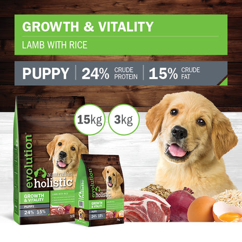 Evolution Holistic Dry Puppy Food - Growth and Vitality - Lamb with Rice