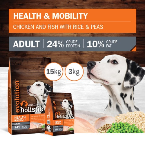 Evolution Holistic Dry Dog Food - Health and Mobilty - Chicken and Fish with Rice and Peas