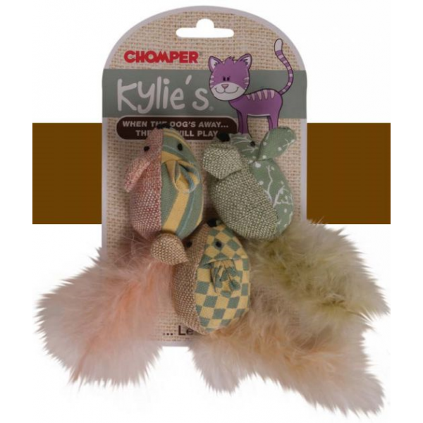 Chomper Kylie's 3 Vintage Feather Mice with Catnip