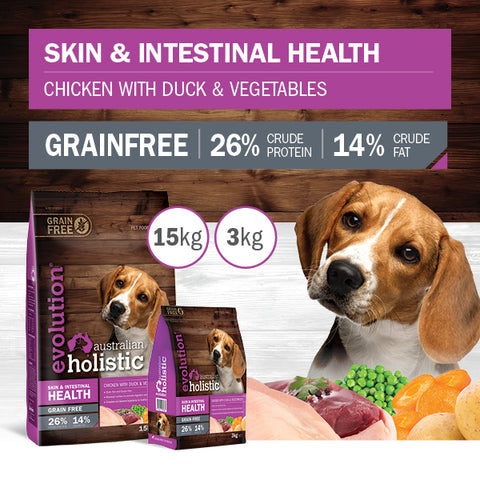 Evolution Holistic Dry Dog Food - Skin and Intestinal Health - Chicken with Duck and Vegetables