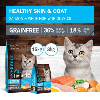 Evolution Holistic Dry Cat Food - Healthy Skin & Coat - Salmon & White Fish with Olive Oil