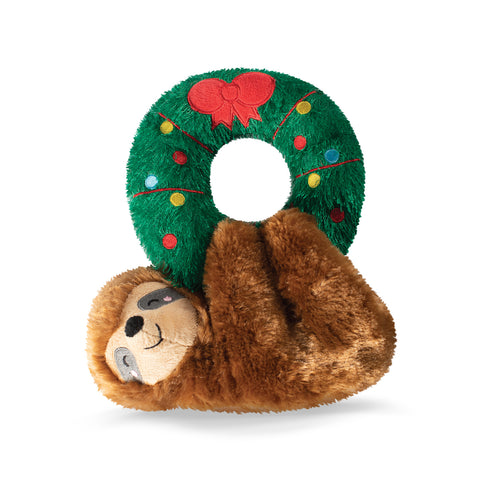 Christmas Sloth Hanging From a Wreath Plush Dog Toy