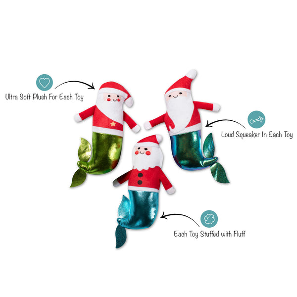 Christmas Minis Mer-Santas 3-Piece Plush Dog Toy