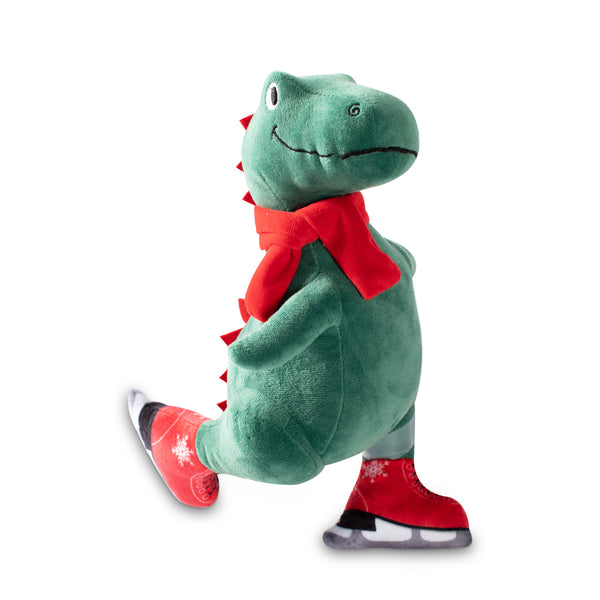 Christmas Ice Skating T-Rex Plush Dog Toy