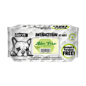 Absorb Plus Antibacterial Pet Wipes - 80 Wipes