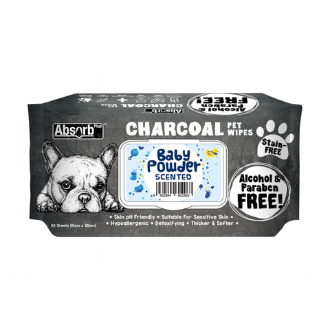 Absorb Plus Charcoal Pet Wipes - 80 Wipes