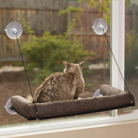K&H Kitty Sill EZ Mount Cat Window Bed With Bolster Rim