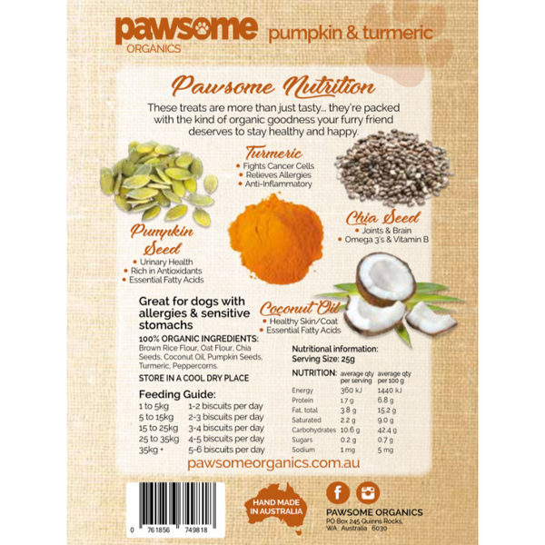 Pawsome Organics Pumpkin & Turmeric Dog Treats