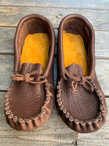 Mocha Buffalo Hide Pucker Toe Moccasins