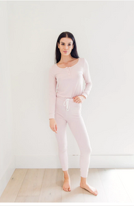 Sundays Ribbed Henley Sleep Set in Blush