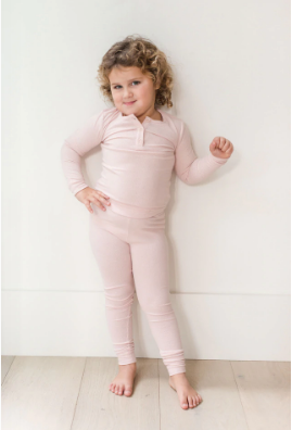 Kids Sundays Ribbed Henley Sleep Set in Blush