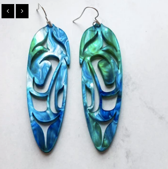 Feather Earrings Almost Abalone Acrylic 2.5