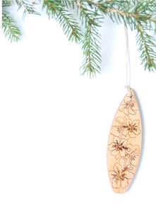 Surfing to Hawaii -Wooden Ornament