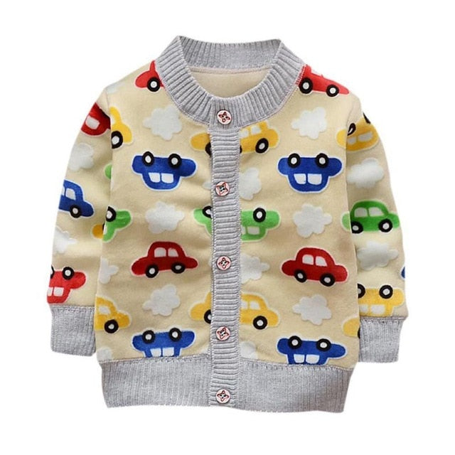 Boys Sweaters Car Printed Coat