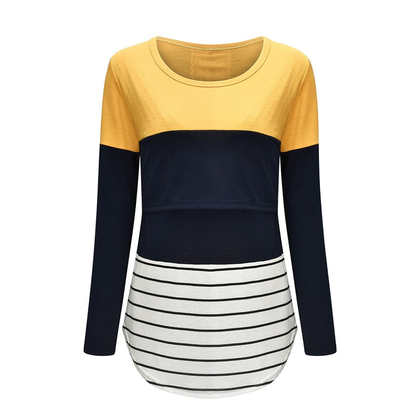 Maternity Long Sleeve Striped Nursing Tops