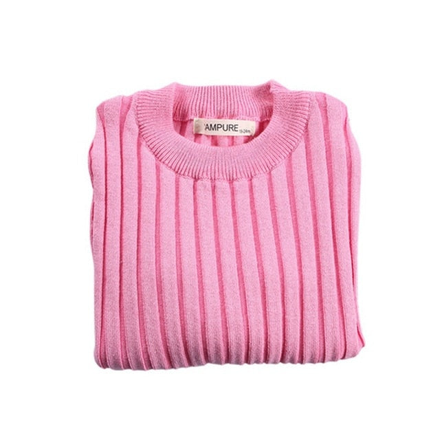 Girls Sweaters Solid Candy Color