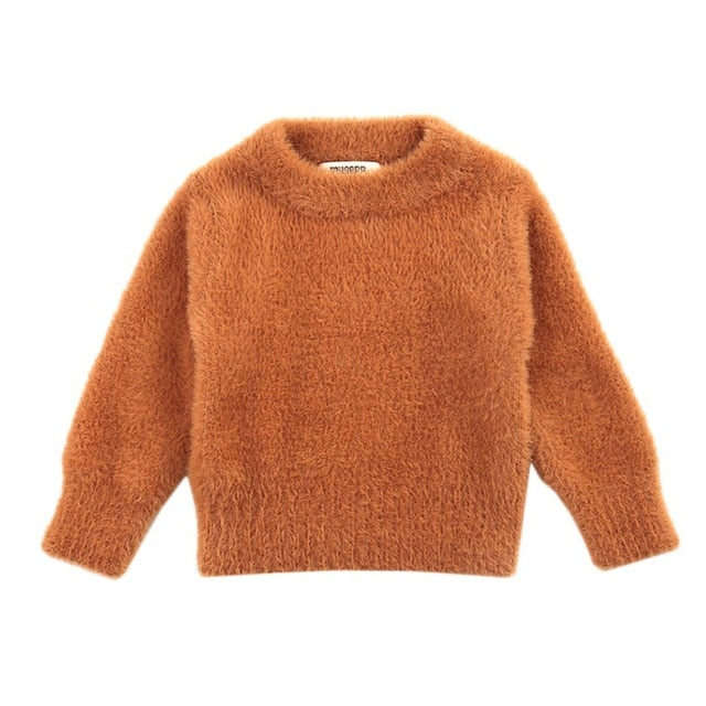 Boys Girls Faux Hair Long Sleeve Sweater