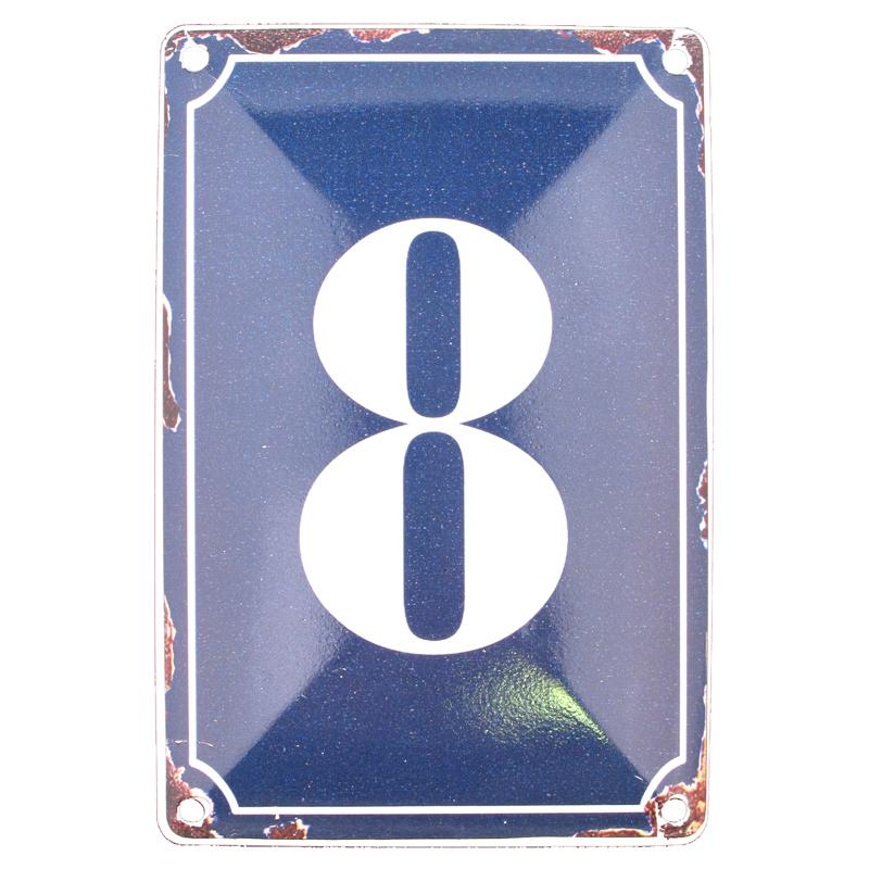 8 BLUE TIN NUMBER 10.3x5.3cm
