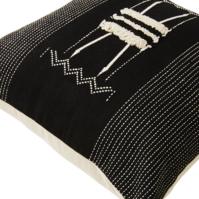 JAVA HANDWOVEN BLK/WHT CUSHION 45x45cm