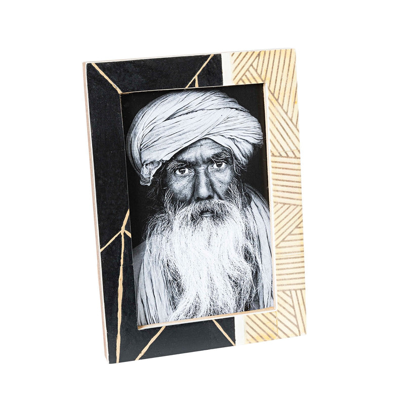 BURNISH BONE FRAME w/BLACK & GOLD 4x6""