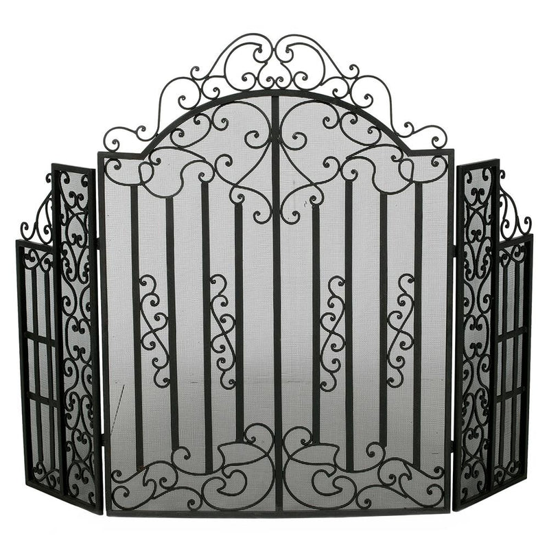 IRON FIRESCREEN ANTIQUE PEWTER w/MESH