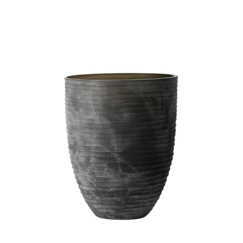 HORIZONTAL STRIPES DEEP VASE-SMOKE 30x24