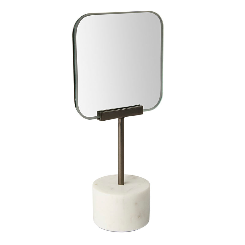 SQUARE WHITE MARBLE TABLE MIRROR H27cm
