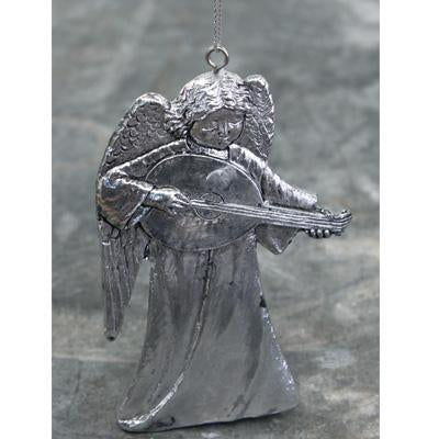 SILVER RESIN HANGING ANGEL WITH MANDOLIN
