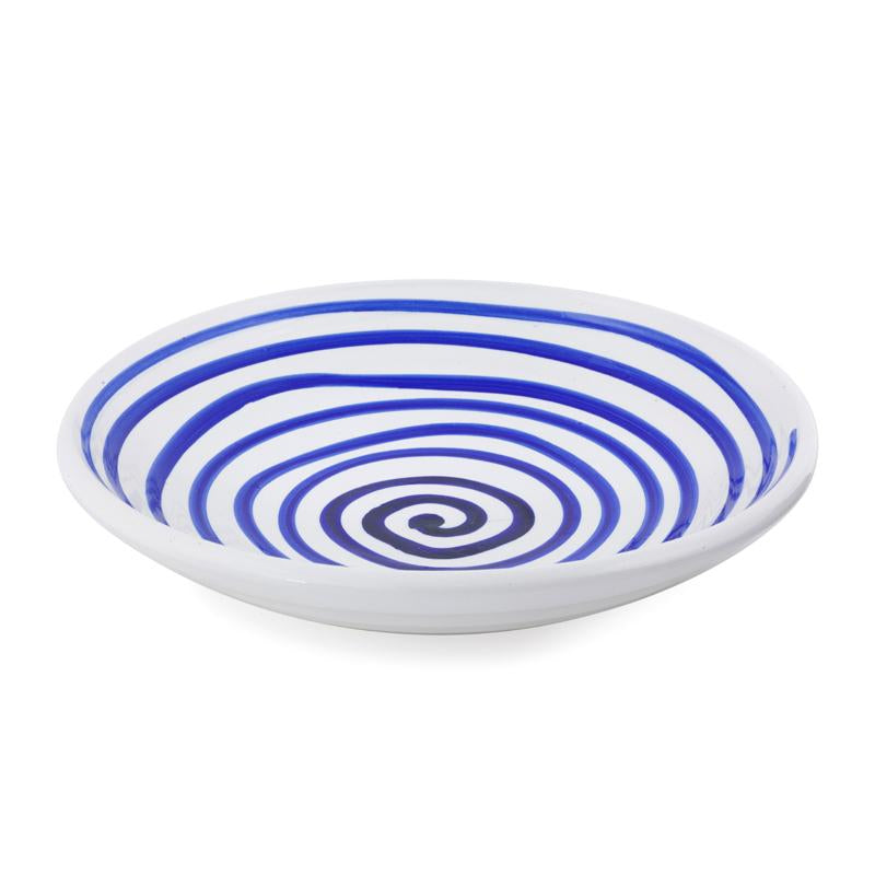 AEGEAN RND PLATE WITH BLUE SWIRL D40cm