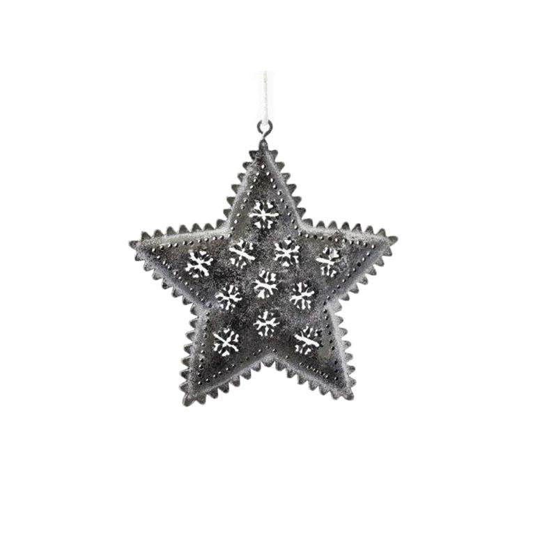 SMALL GREY TIN STAR W/SNOWFLAKES H9CM