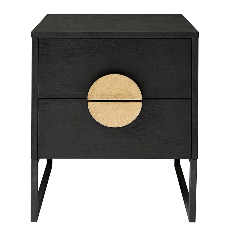 ##LUNA II 2-DRAWER BLACK BEDSIDE - GOLD