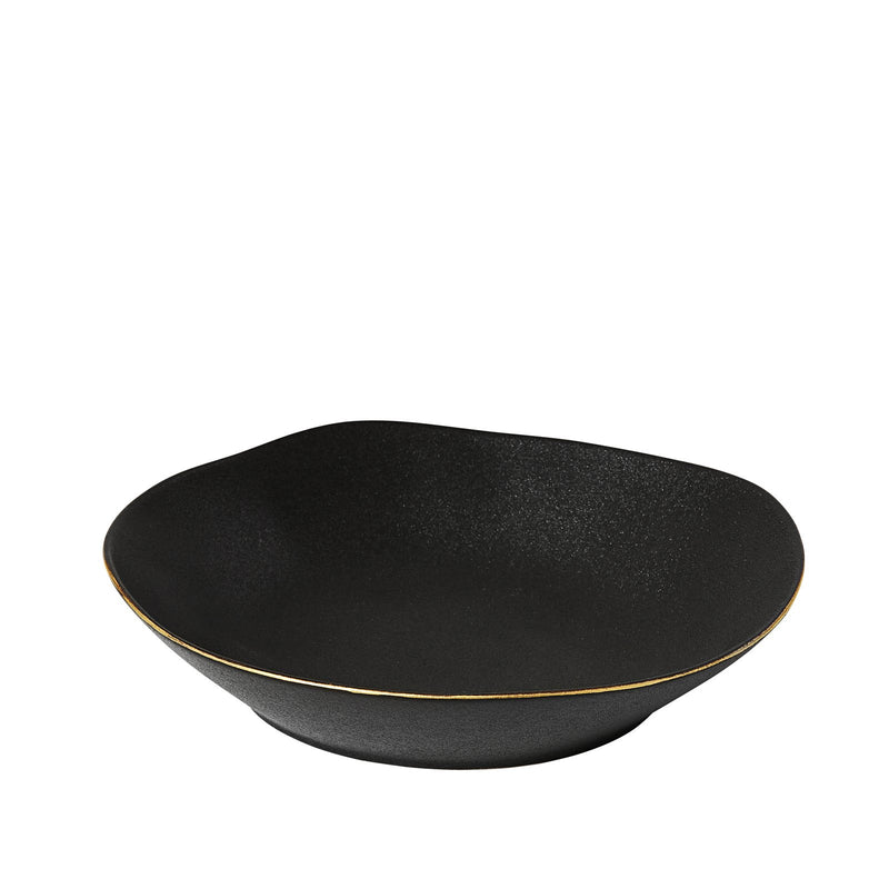 'AMARO' PASTA BOWL - BLACK w/GOLD TRIM