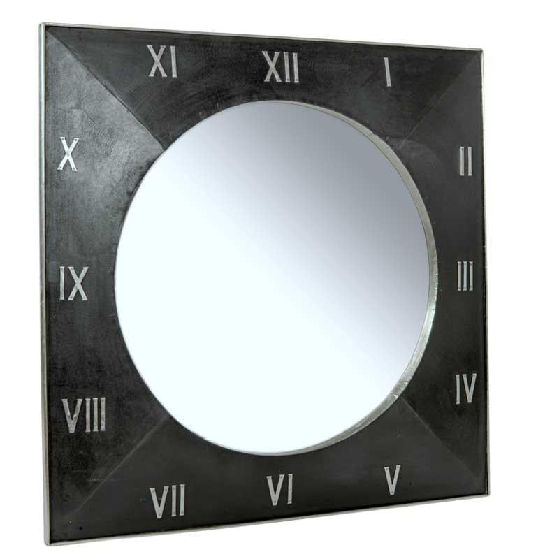 ##WOODEN SQ ROMAN NUMERAL MIRROR