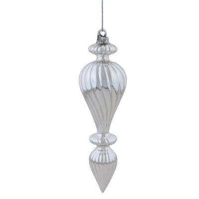 SILVER GLASS HANGING FINIAL