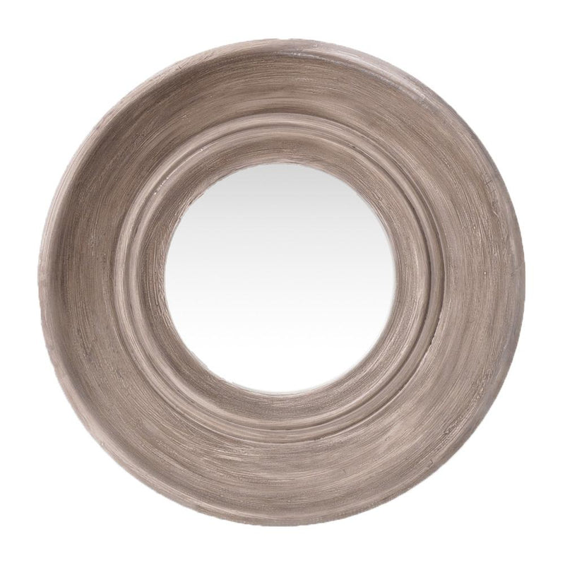 BEIGE WASH ROUND WOODEN MIRROR D80cm