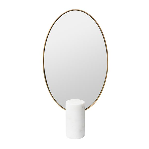 OVAL WHITE MARBLE TABLE MIRROR H40cm