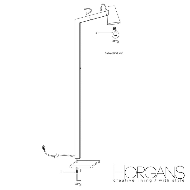 TILT FLOOR LAMP in WHITE H142cm (E14W40)