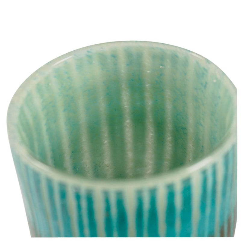 AQUA/GREY CUT GLASS VOTIVE LRG 10x10cm