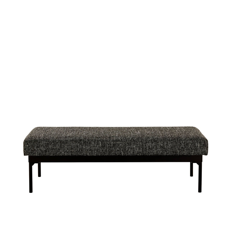 ADI OTTOMAN-BLACK/WHITE TEXTURAL TWEED