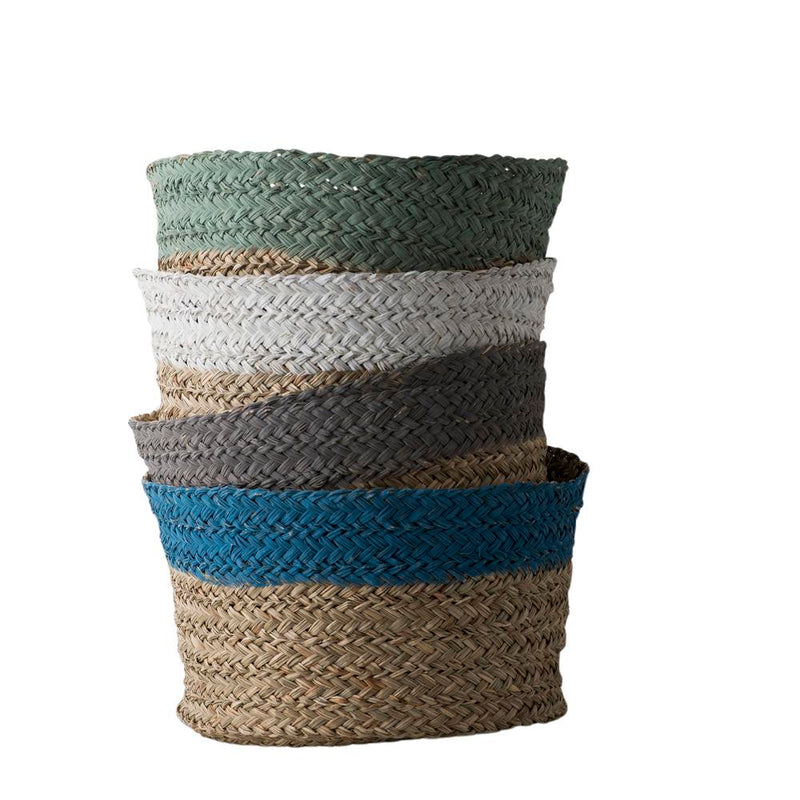 BLUE TOP STRIPE ROUND BASKET 40x28cm