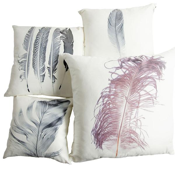 LARGE FEATHER DESIGN CUSHION 80x80cm
