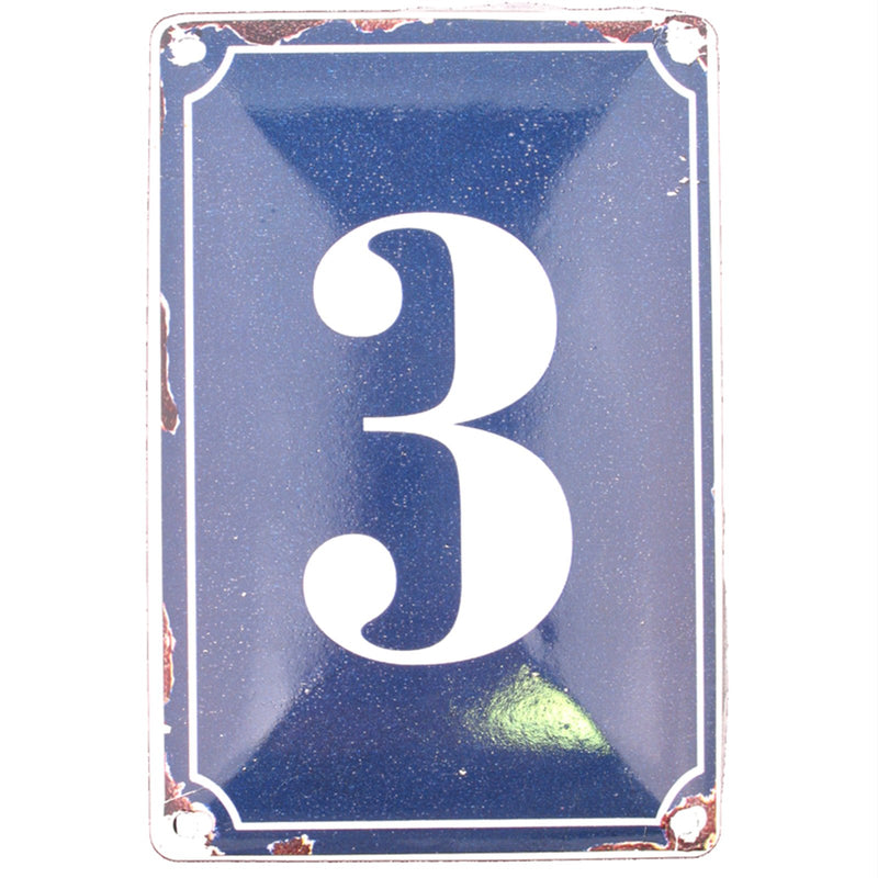 3 BLUE TIN NUMBER 10.3x5.3cm