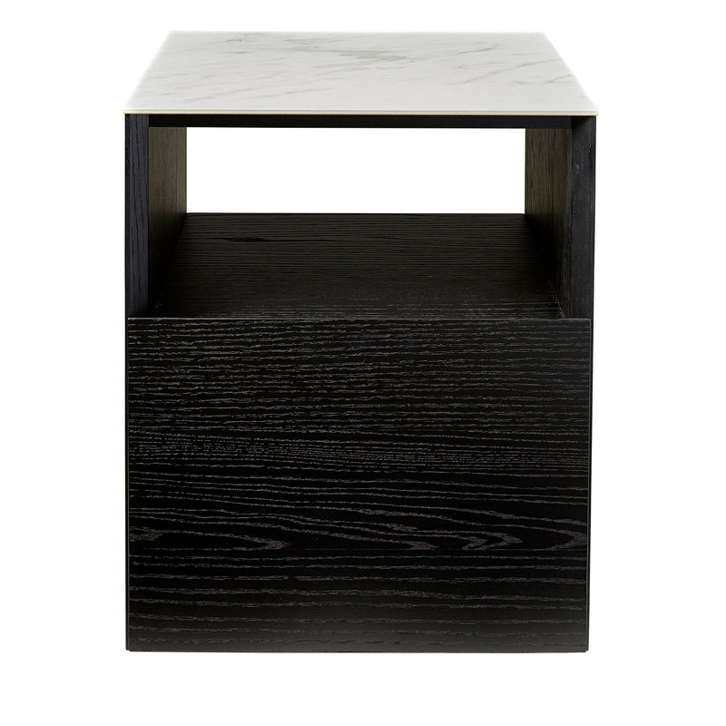 ##TIA BLK BEDSIDE-WHITE MARBLE CERAMIC