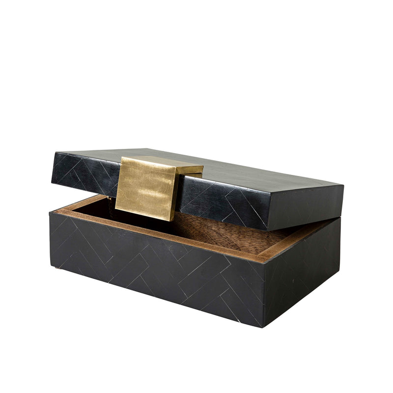 BLACK RESIN BOX w/BRASS HANDLE 20x13x8