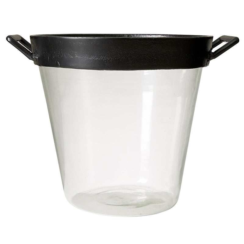 LRG GLASS & BLACK ICE BUCKET H30D32cm