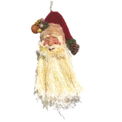10cm SANTA HEAD W/RED HAT W/ACORN