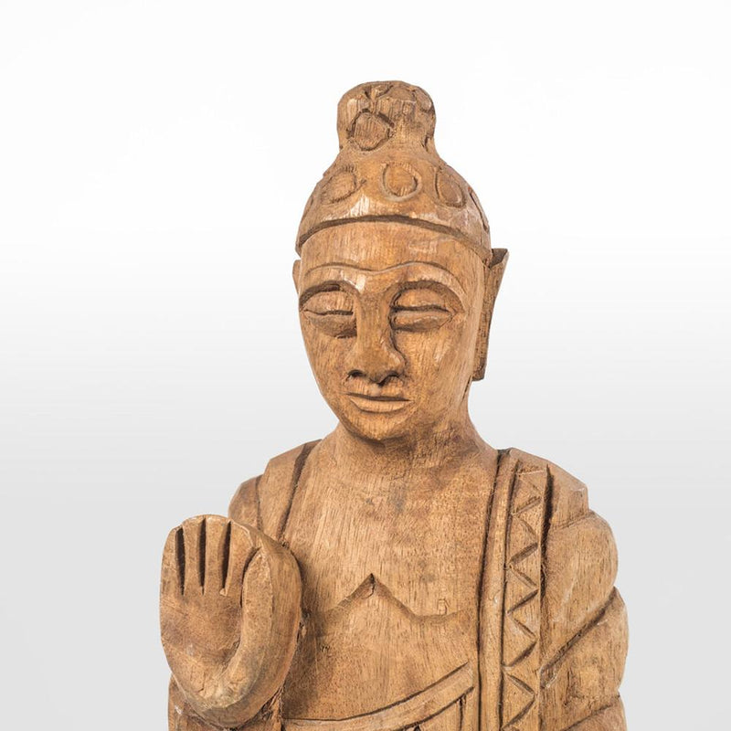 SMALL CARVED BUDDHA STATUE H92cm