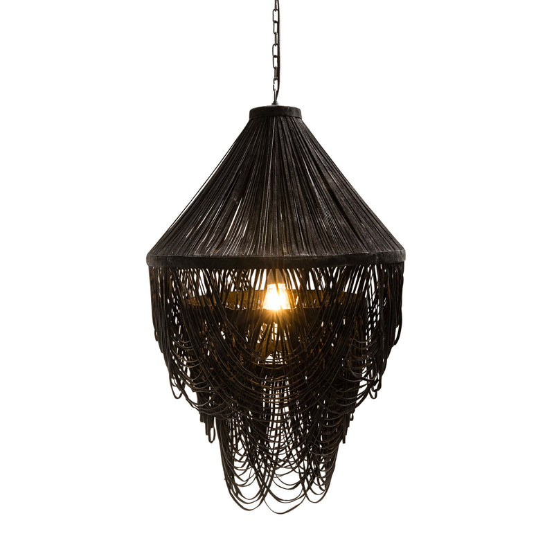 YUMI BLACK SUEDE DRAPED CHANDELIER