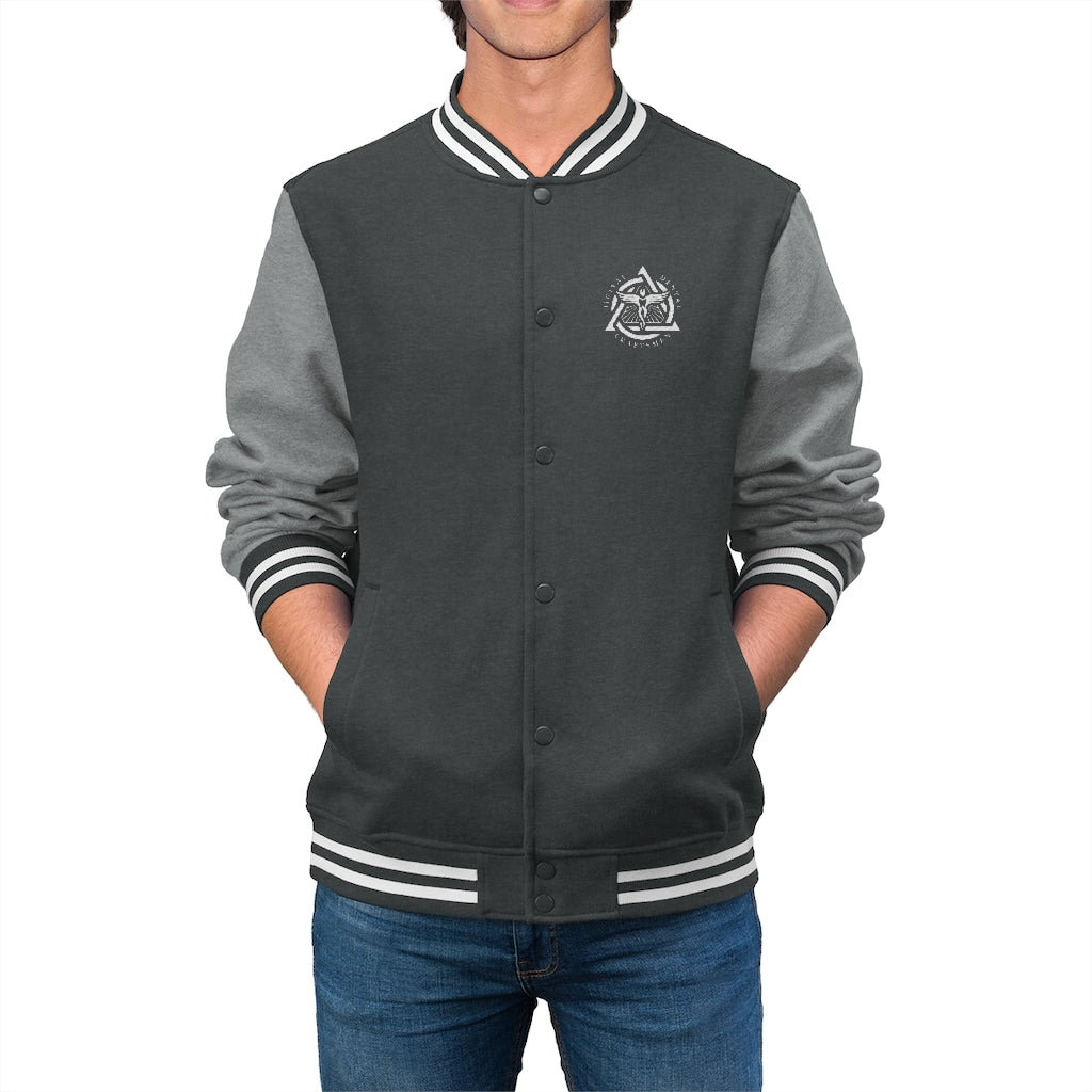 DDC White Emblem Men's Varsity Jacket